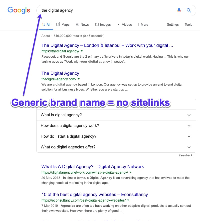 Generic brand names aren't good to get Google sitelinks
