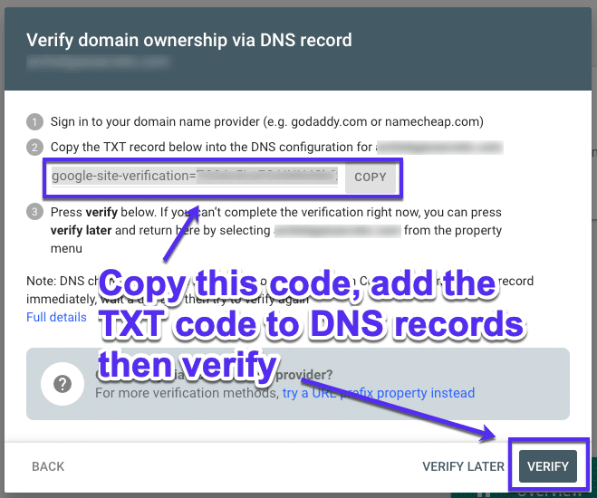 Verify ownership via DNS records