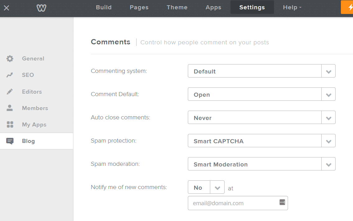 weebly blog settings