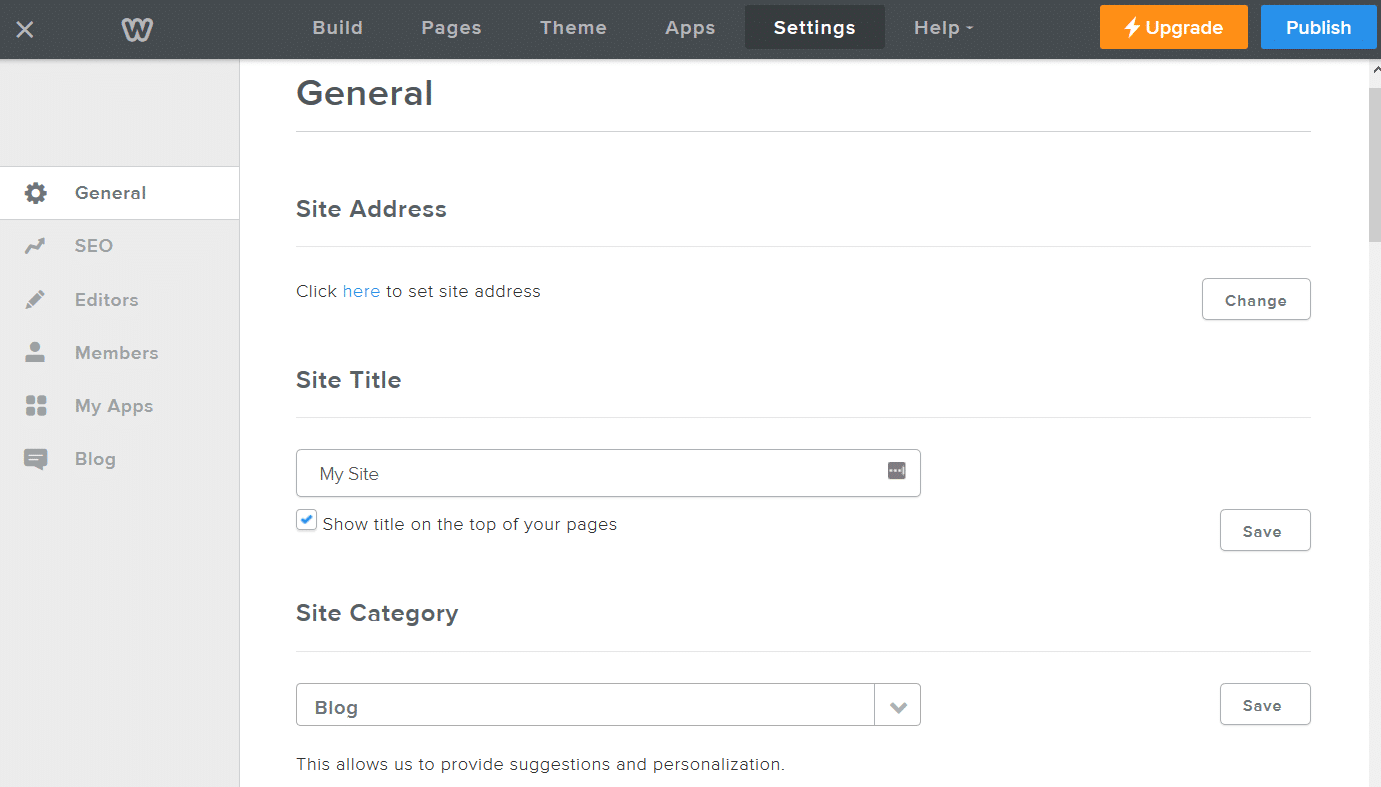 weebly general settings dashboard