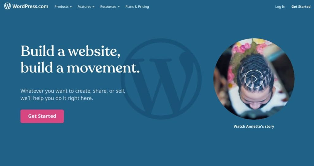 The WordPress.com signup page