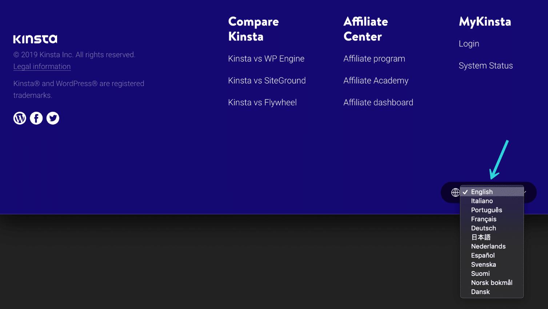 Kinstaのウェブサイトの言語切り替え
