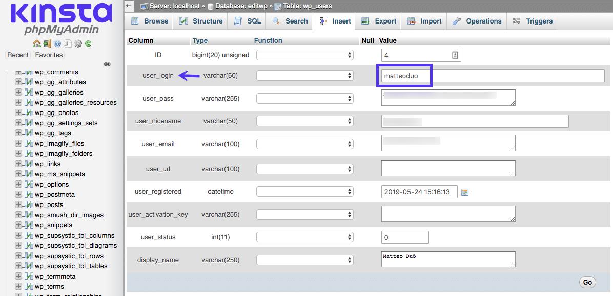 Updated your username directly on the WordPress database