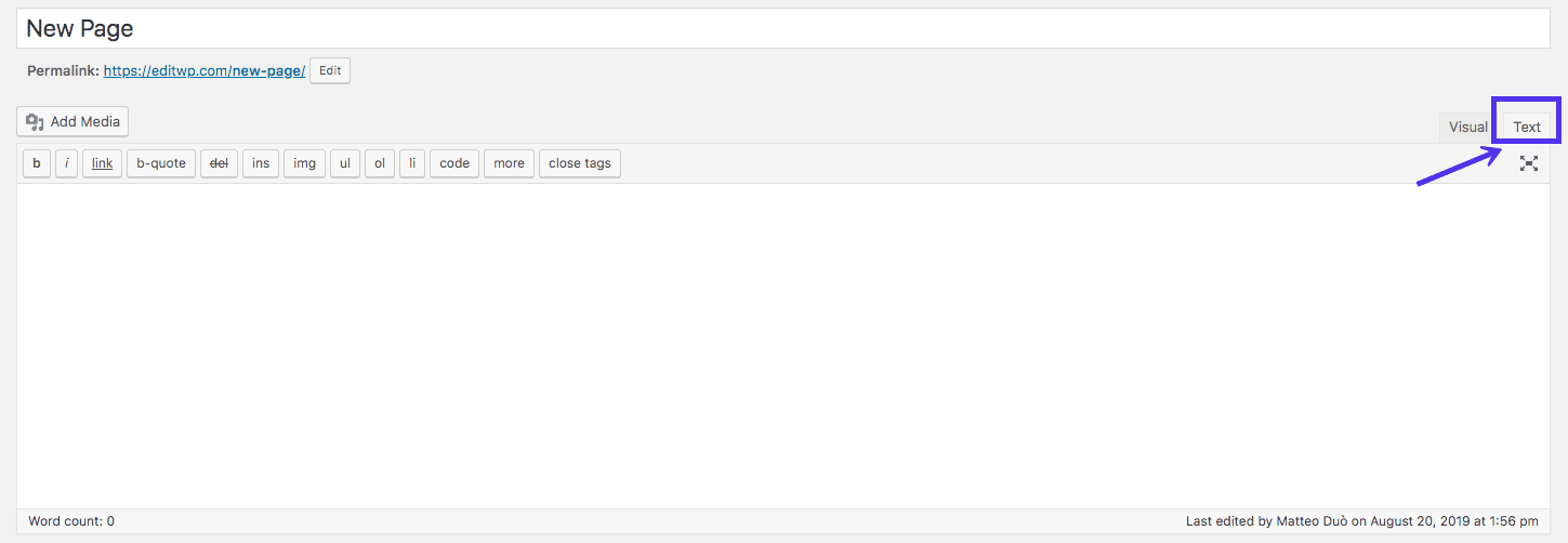 Classic Editor: text view