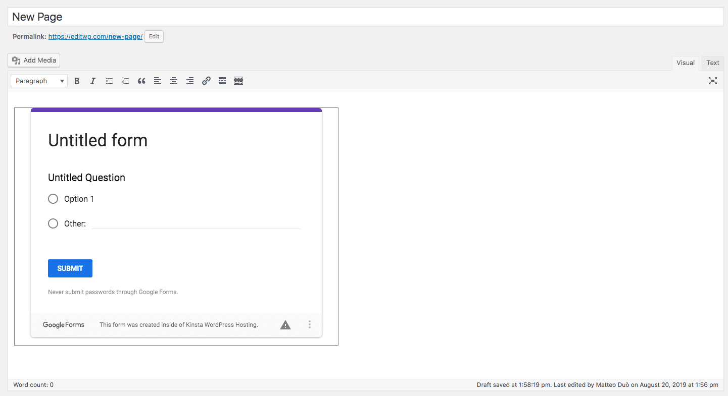 Embedded Google form: preview