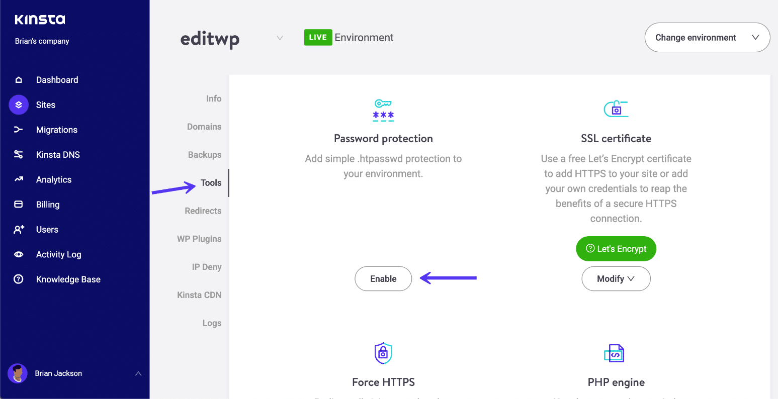 Enable .htpasswd protection
