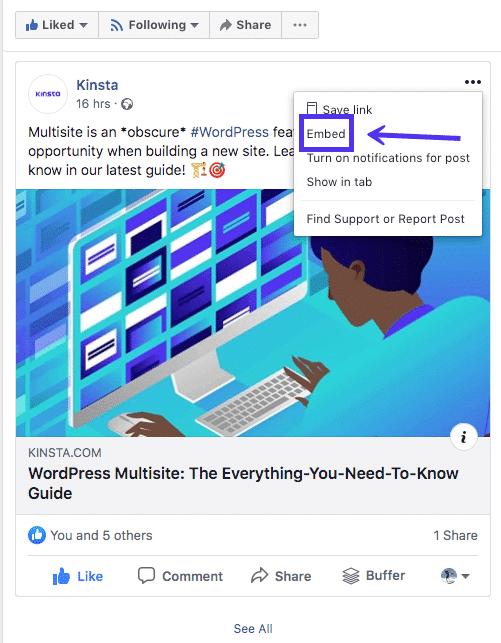 Die Facebook Embed Funktion auswählen
