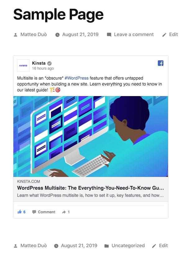 Facebook's iFrame eingebettet in WordPress