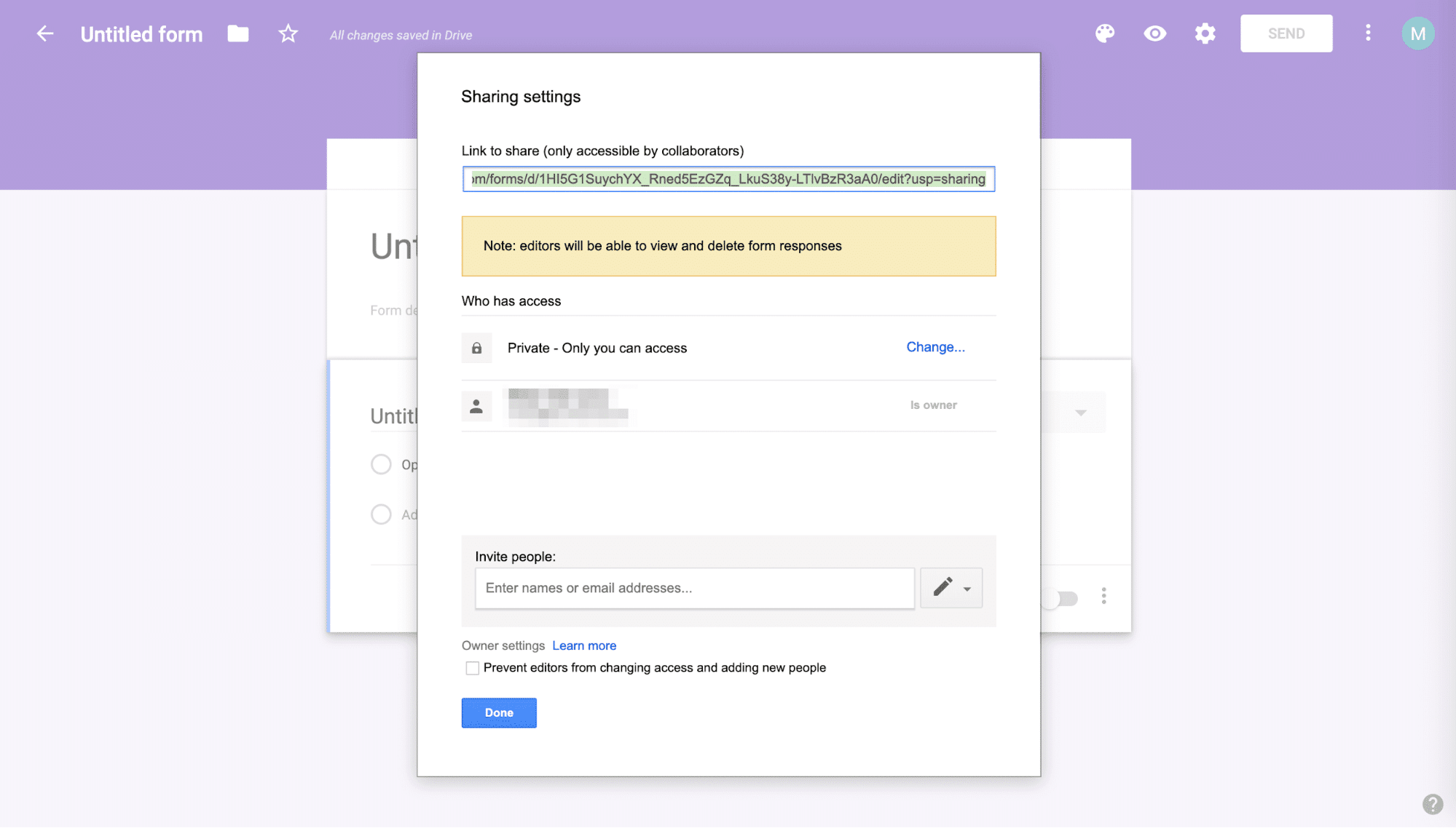 Embed Google Form: Sharing options