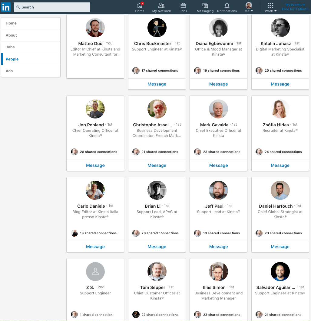 How to create a company page on LinkedIn: employee list
