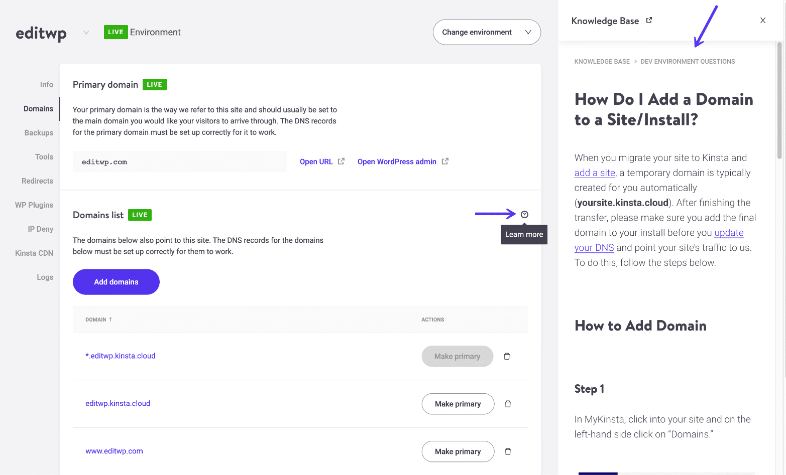 Knowledge Base in MyKinsta