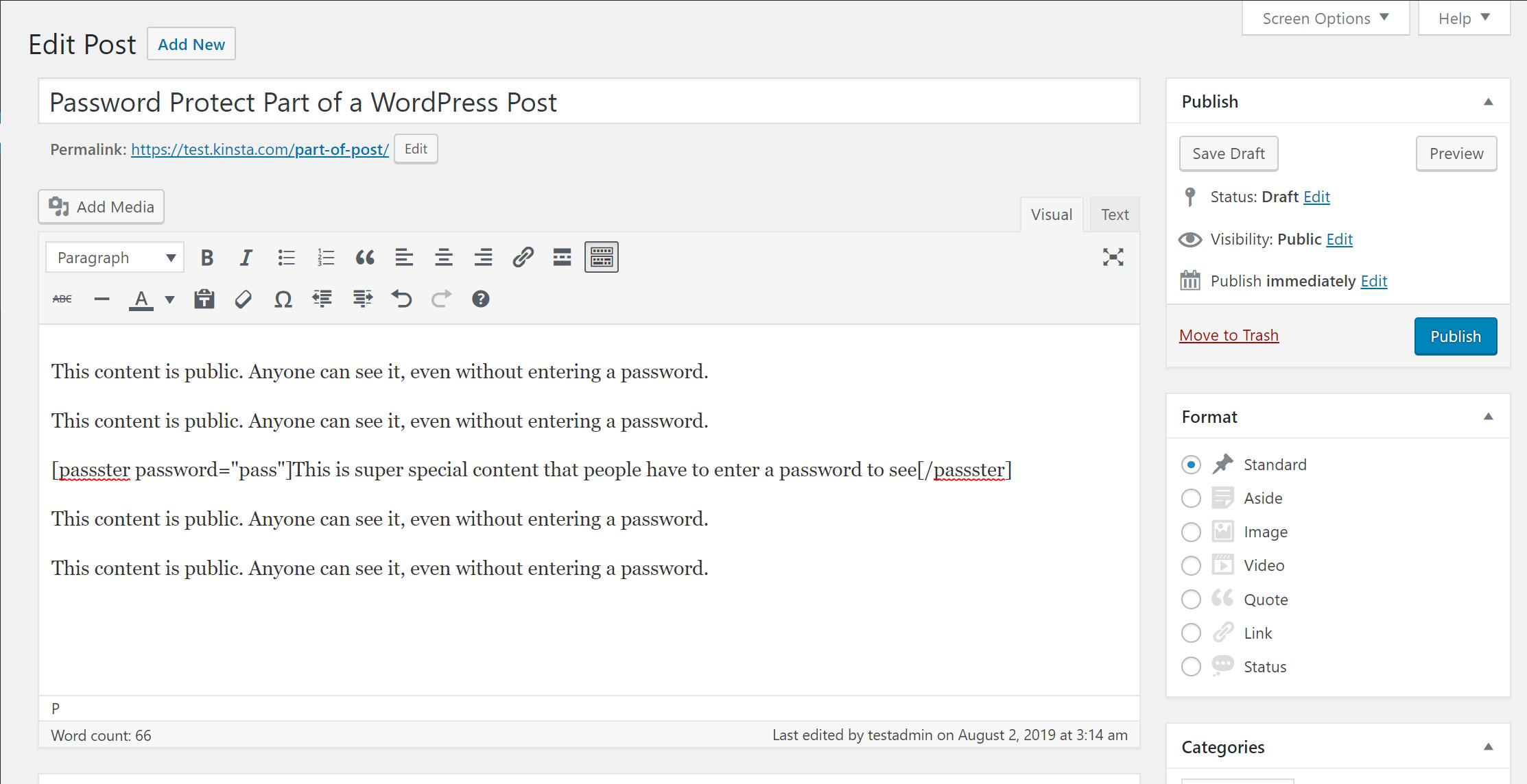Eksempel på Passster-shortcode