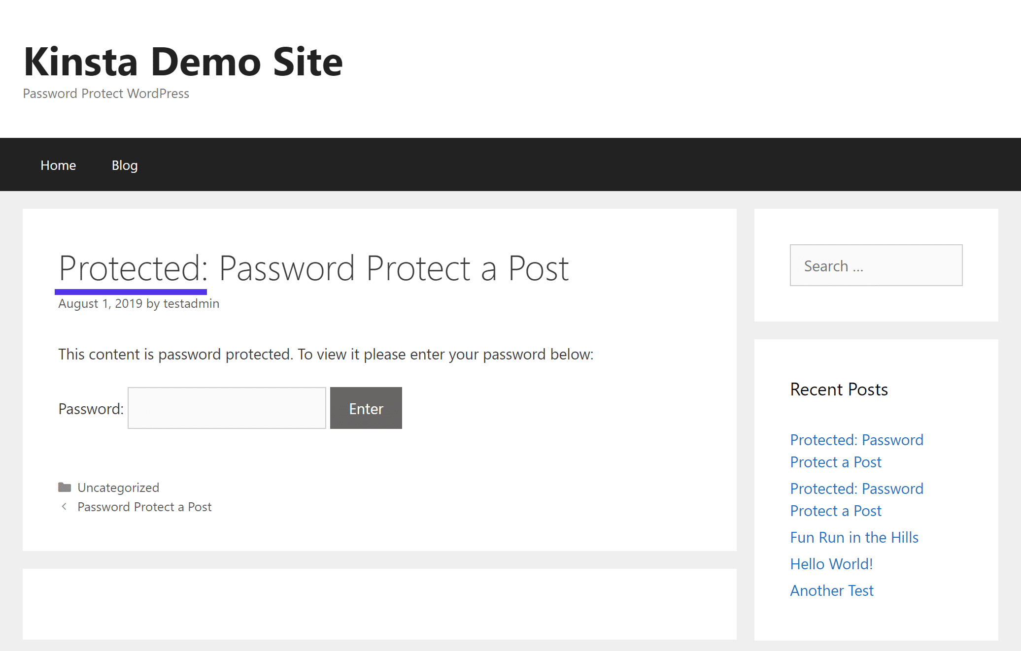 How the built-in WordPress password protection works