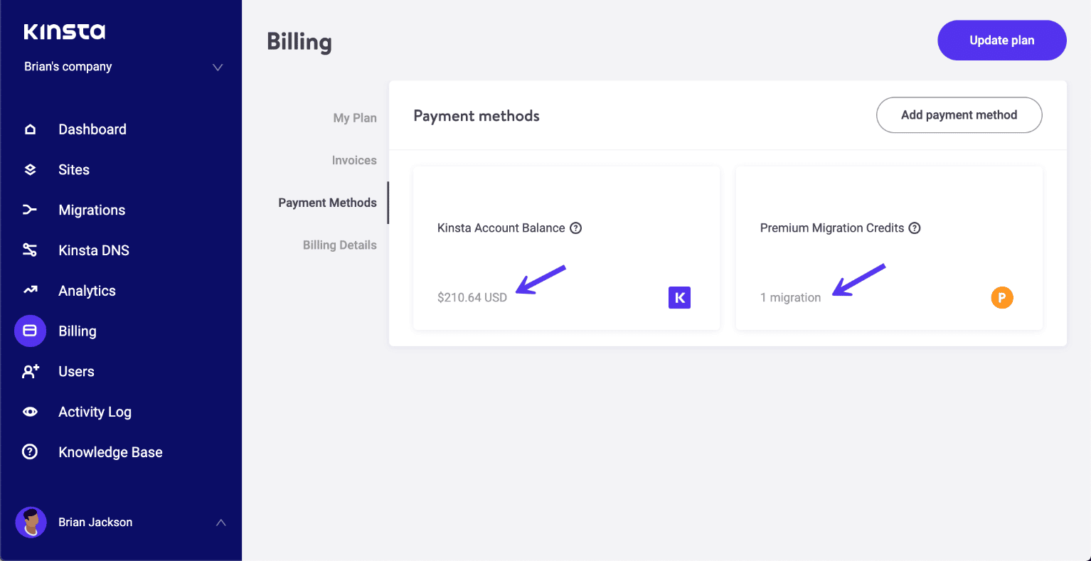 New UI on payment methods page