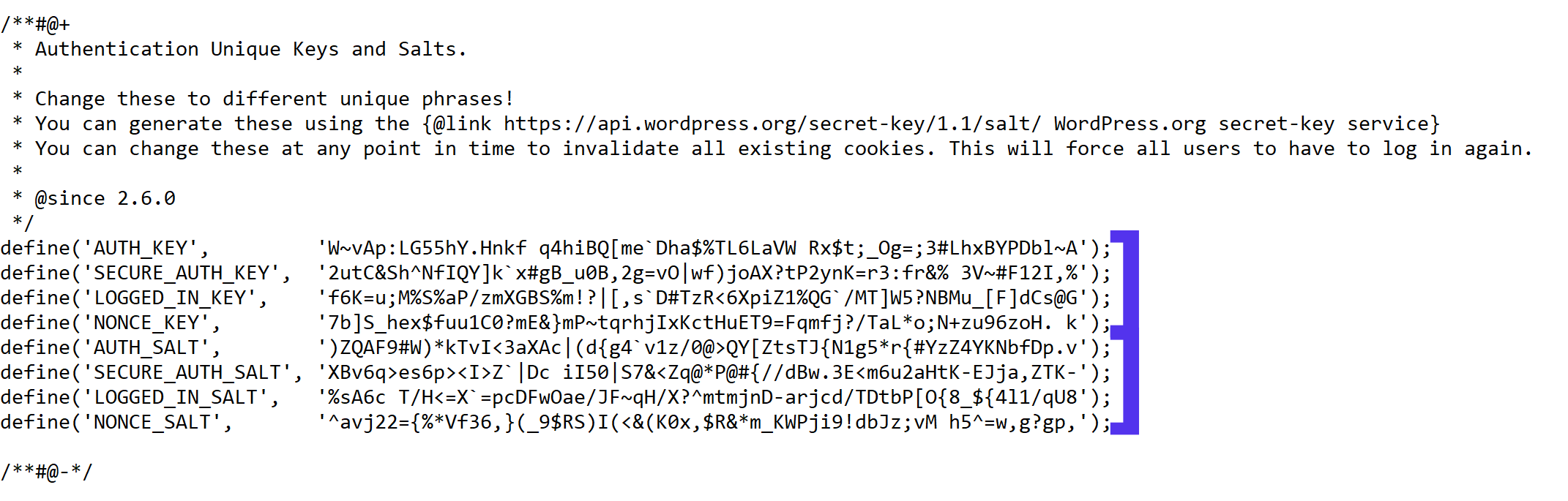 Example of WordPress salts in your wp-config.php file