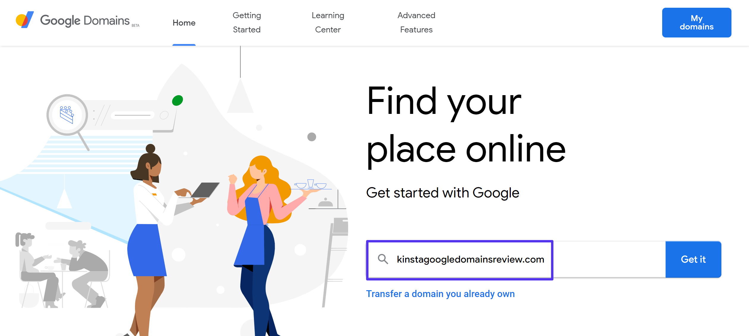 google domains review: Search for your domain