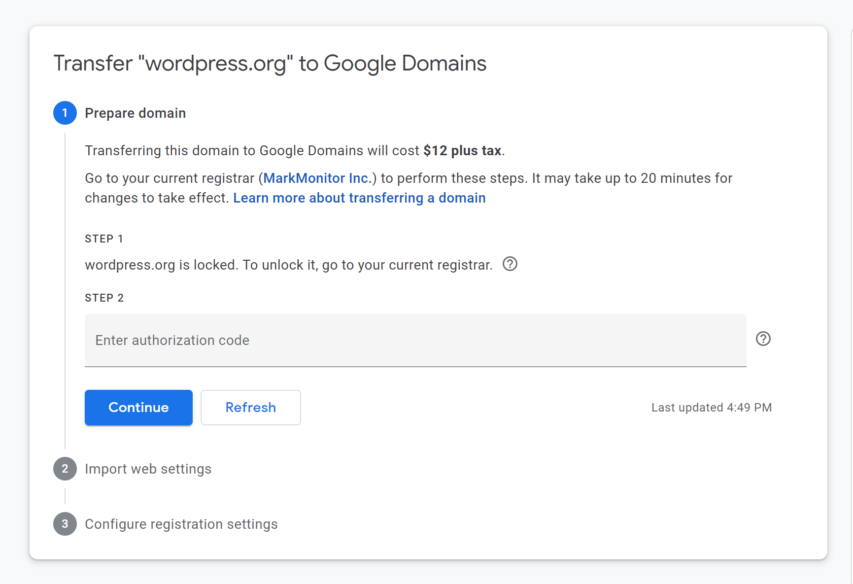 The Google Domains transfer wizard