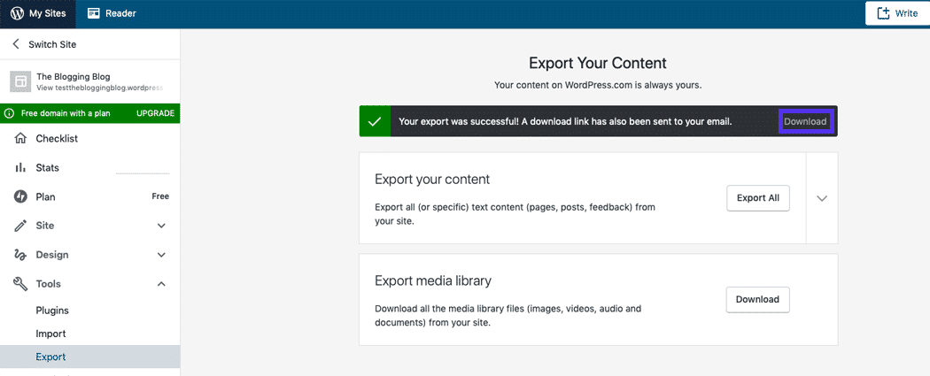 A message detailing a successful export is displayed on the Export page.