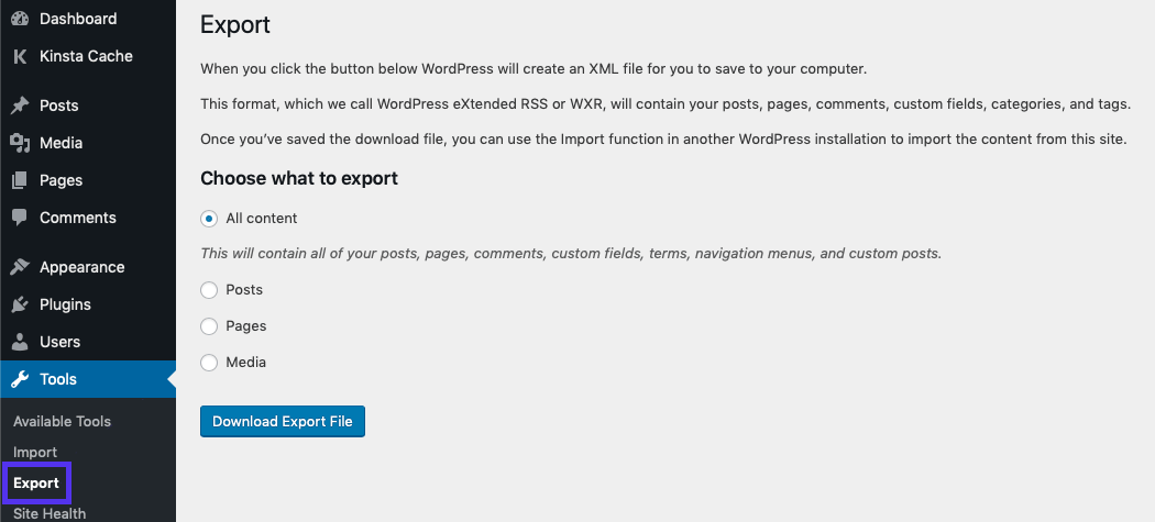 The Export page in the WordPress admin dashboard.