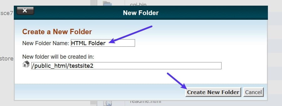 Creating a new folder in cPanel