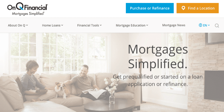 On Q Financial's website homepage