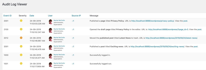 WordPress activity log