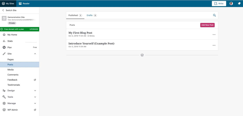WordPress.com interface