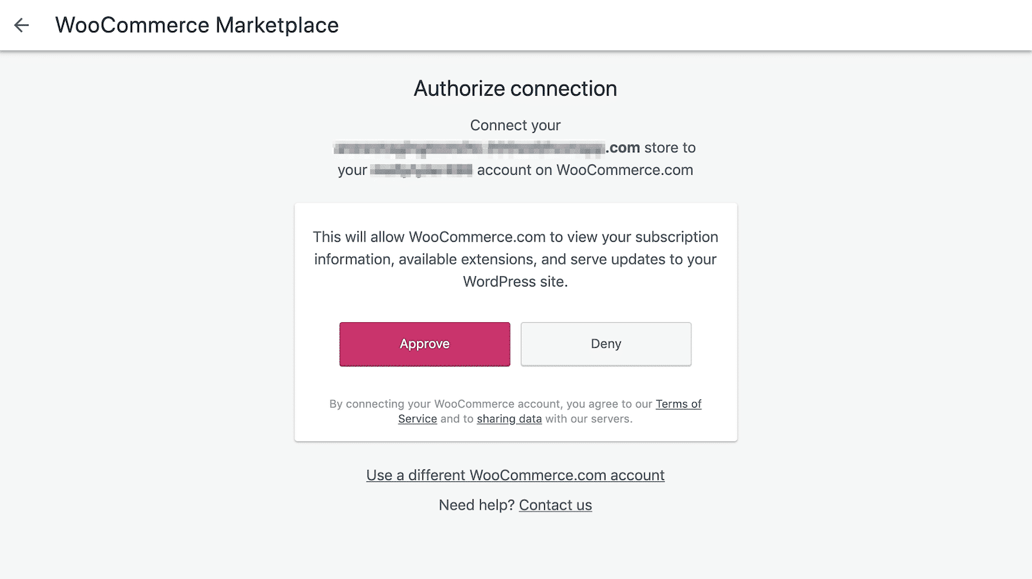 authorize woocommerce connection