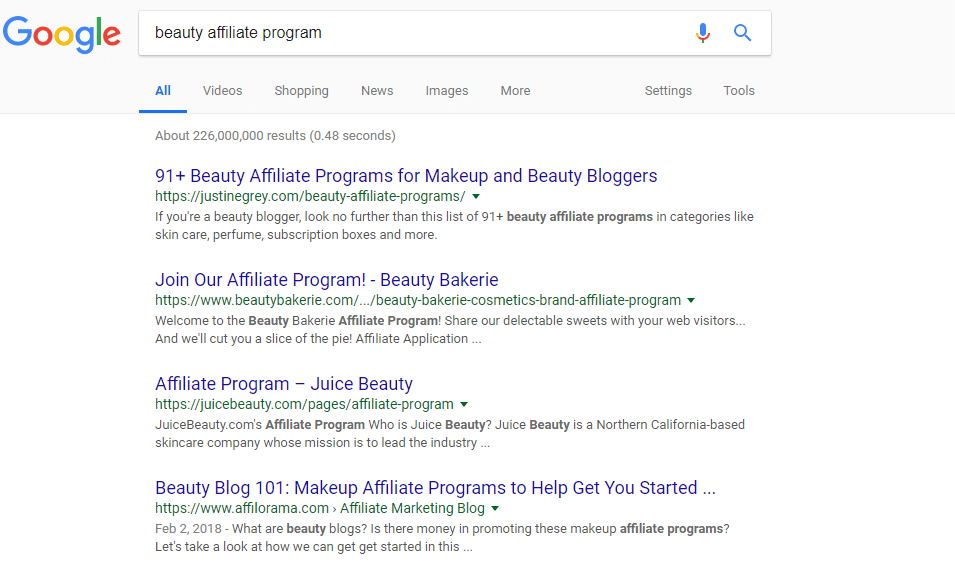 "SERP for ""Beauty affiliate program"""