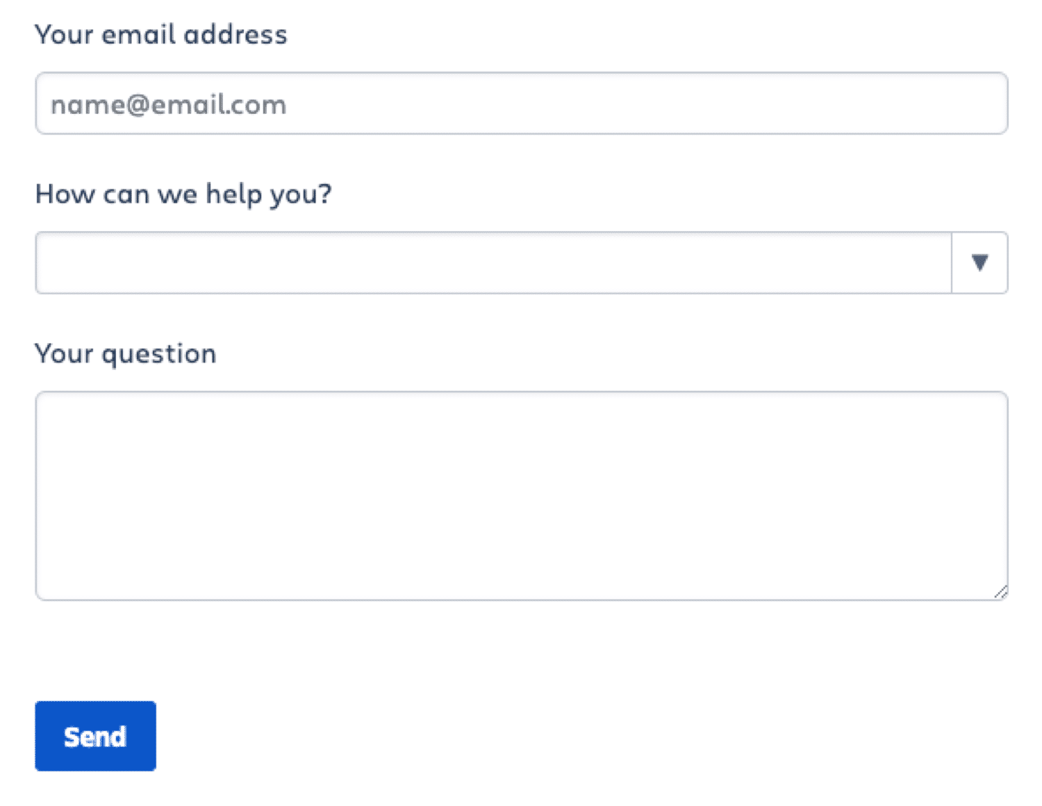 A standard contact form example