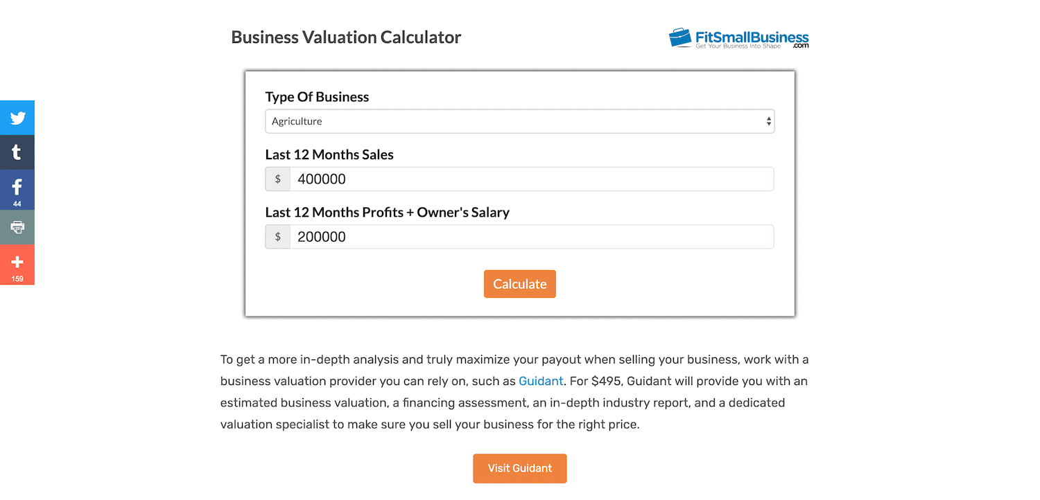 FitSmallBusiness website value calculator