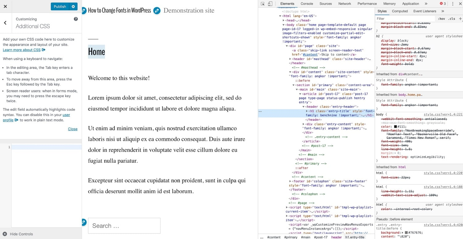 Inspecting code in a WordPress site