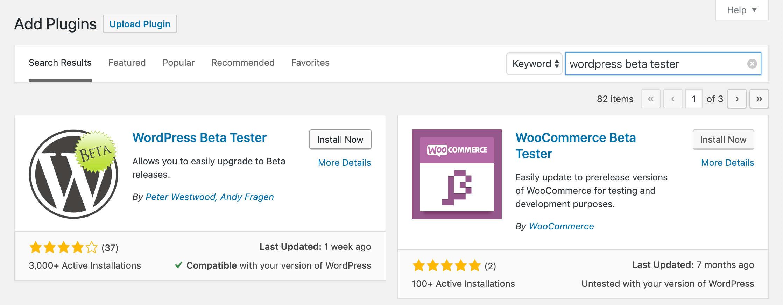 Install the WordPress Beta Tester plugin