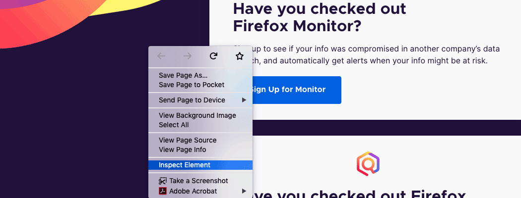A page has been right-clicked in Firefox.