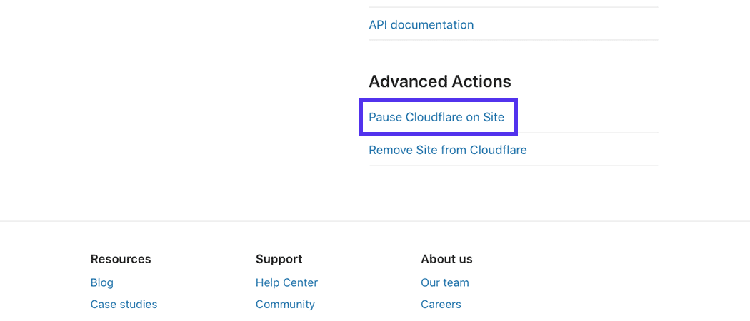 The bottom on the Cloudflare dashboard page