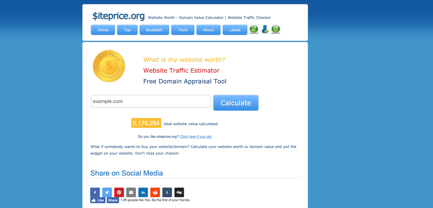 Siteprice website value calculator