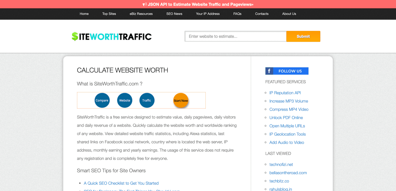 SiteWorthTraffic website value calculator