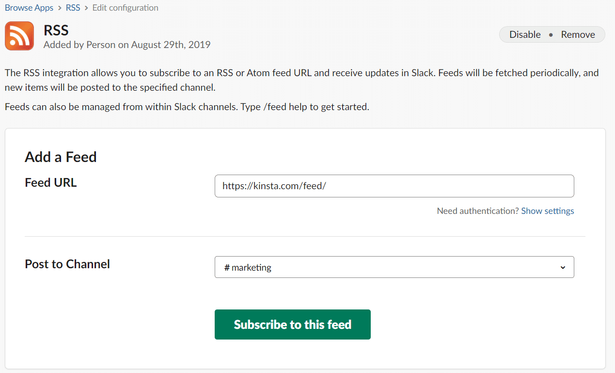 slack add rss feed to channel