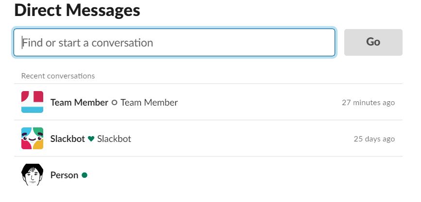 slack direct messages search