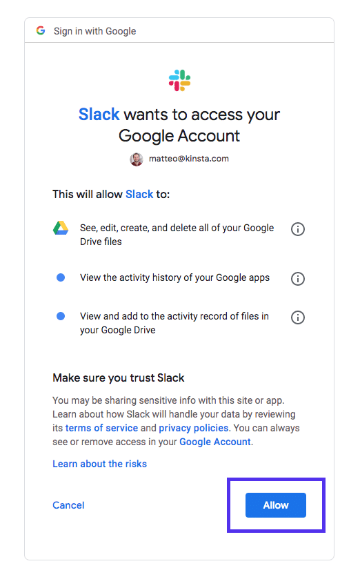 Slack google docs and drive authentication