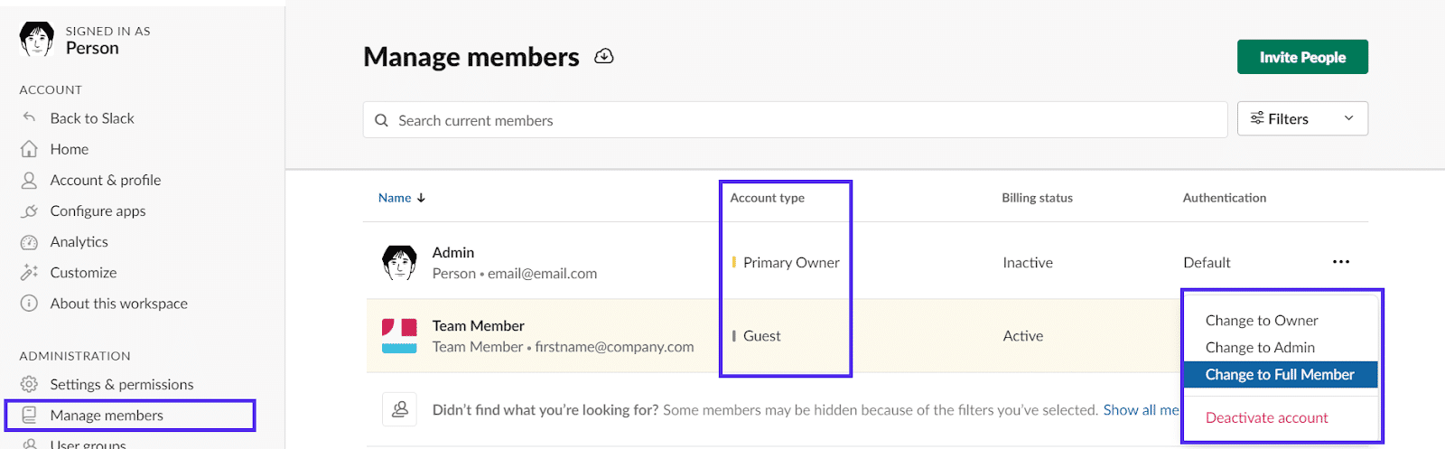 slack manage members credentials