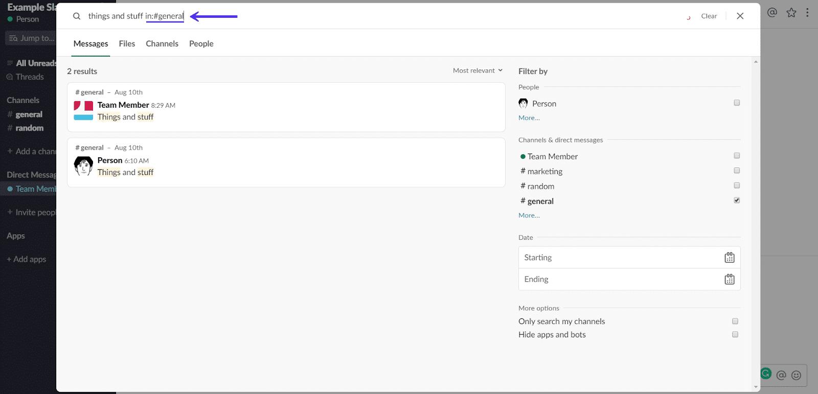 Search in Slack channel