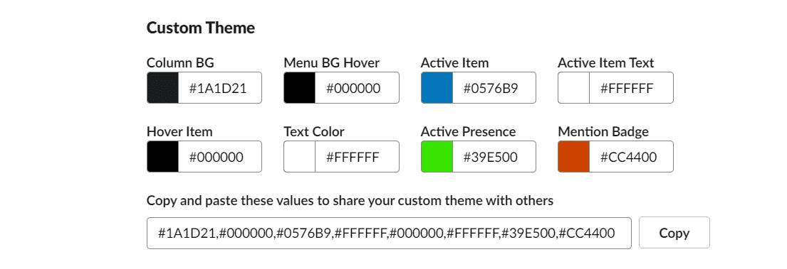 slack sidebar custom theme