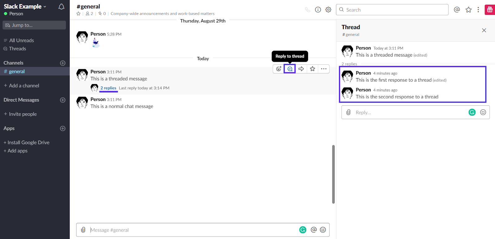 Threaded messages in Slack