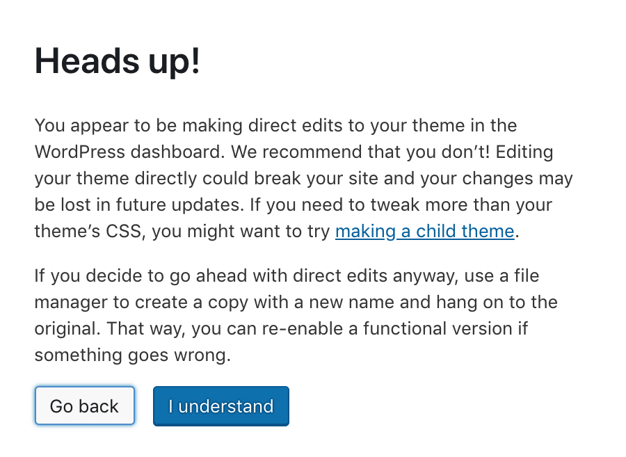 template editor warning