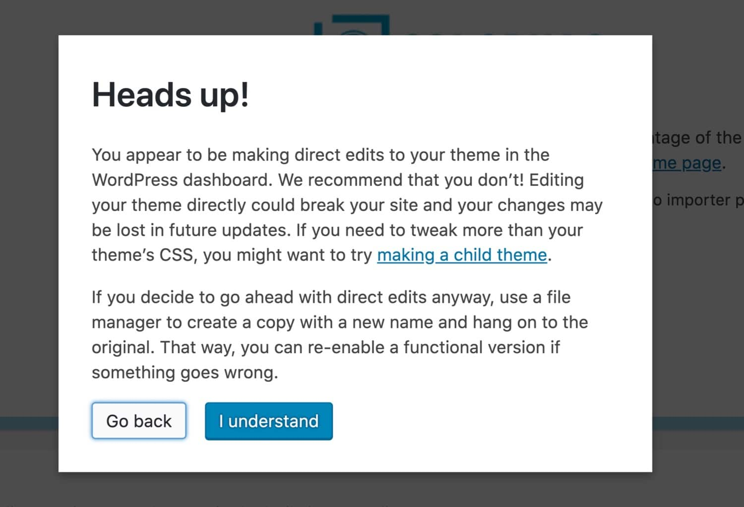 Warning not to use the WordPress theme editor