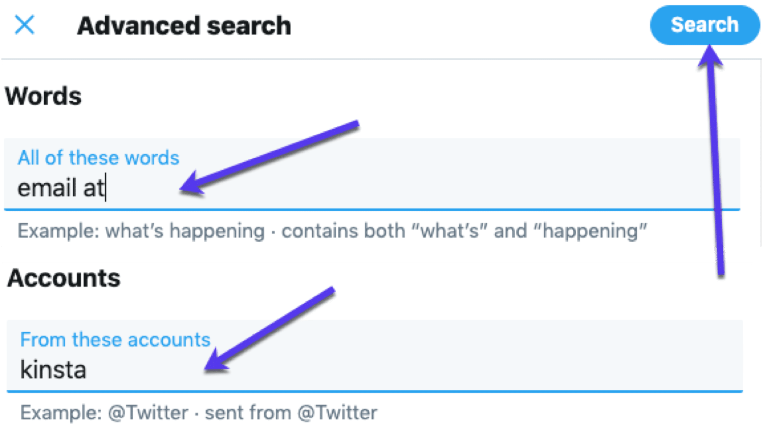 Use Twitter advanced search to find emails