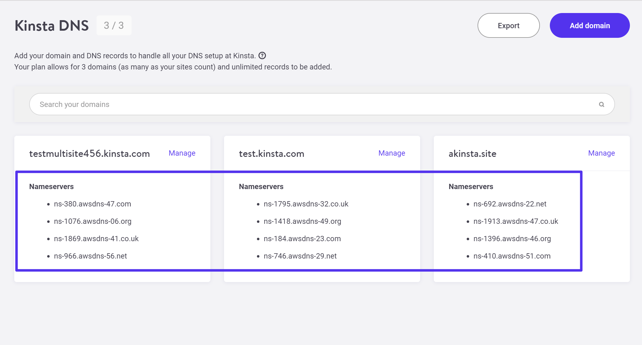 The nameservers in your Kinsta dashboard