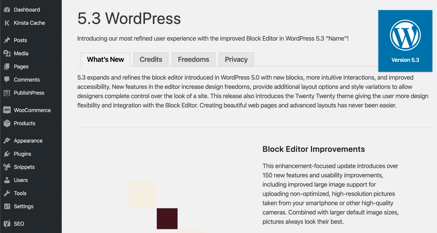 WordPress 5.3 welcome screen